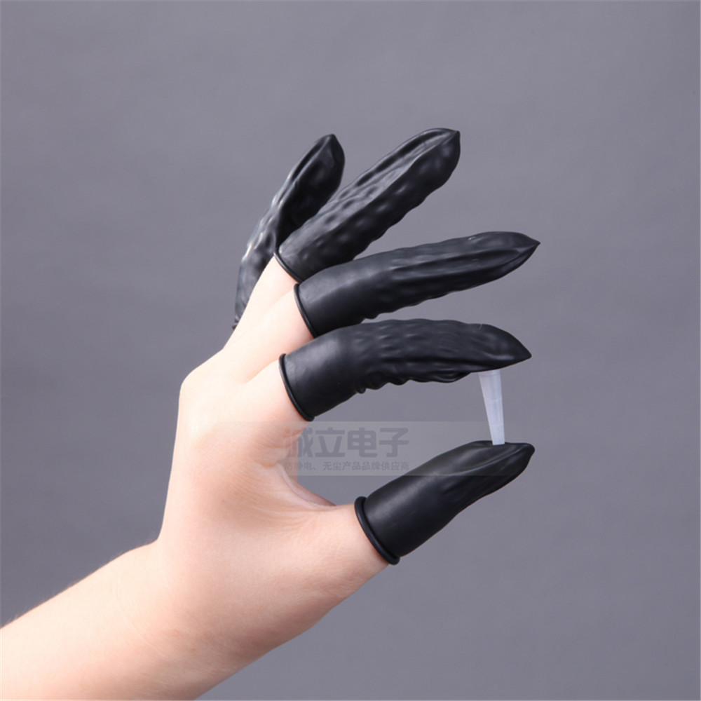 Factory Wholesale 100% Pure Natural Latex Black ESD Antistatic Finger Cots