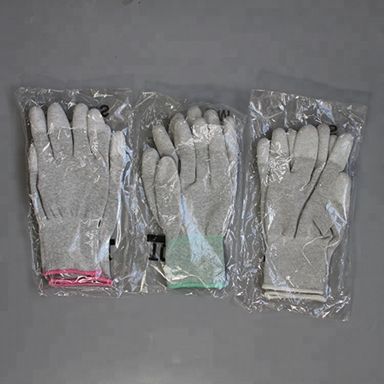 Hot sale Pu finger coated carbon knitted gloves