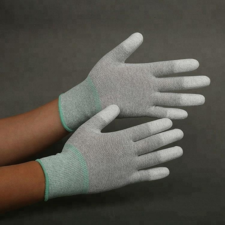 Pu Coated Esd Carbon Fiber Top Fit Safety Gloves